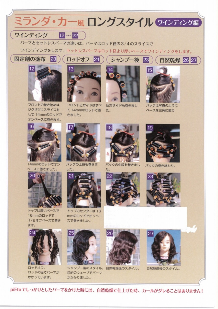 パーマで作る ミランダ・カーのヘアスタイル ロッドの巻き方
